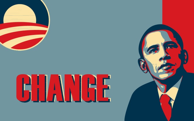 Obama's stand for change, change you can believe in, yes we can, oh we didn't, maybe we can't campaign.